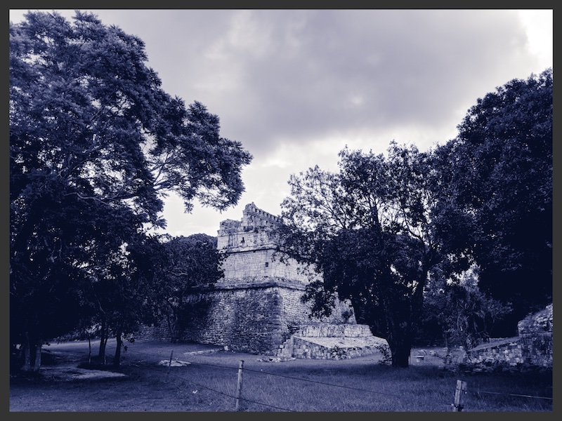 Chichen Itza ruins in black and white view