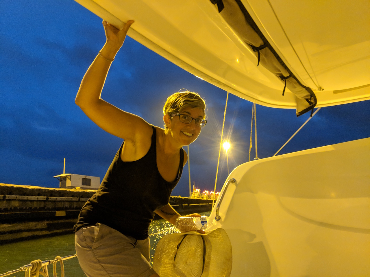 Janet on SV Maple as we head to the Gatun Yacht Club