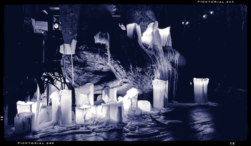 Black and white view of candles
