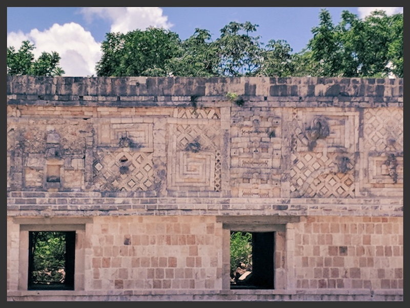 The decorated wall in Uxmal