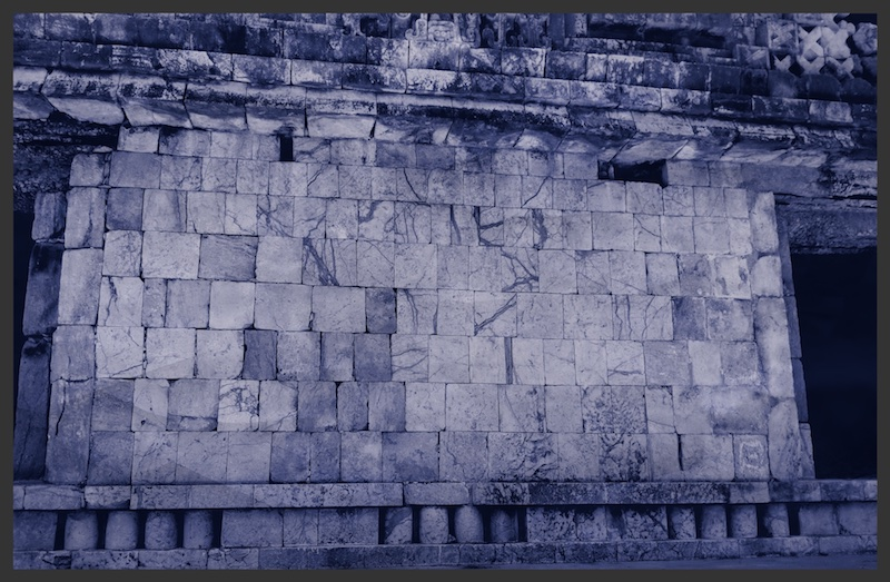 The wall of the pyramid in Uxmal