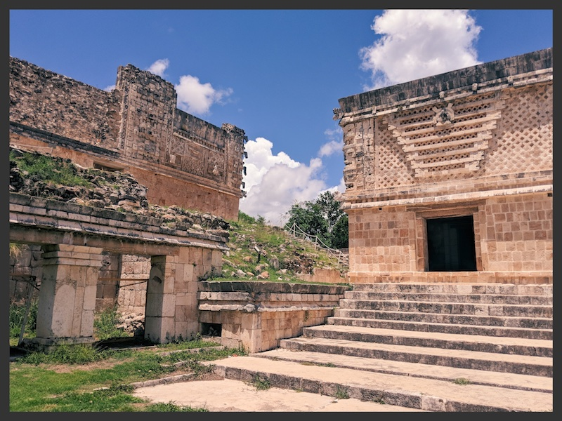 The side view of a temple in Uxmal